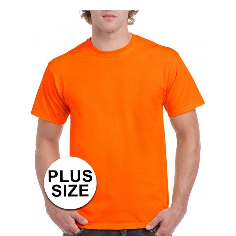 Grote maten t shirt in fel oranje kleur. het shirt is gemaakt van 200 grams katoen en is geschikt voor ...