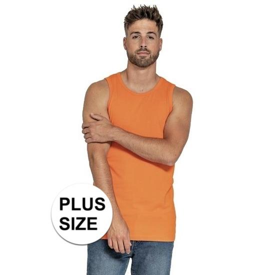 Grote maten oranje tanktop/singlet voor heren. casual tanktop/hemd in de kleur oranje voor heren. dit heren ...