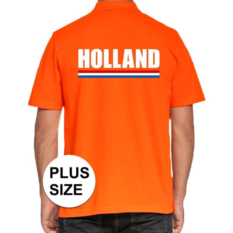 Oranje grote maten poloshirt holland voor heren. op dit oranje polo shirt staat een de nederlandse vlag en de ...