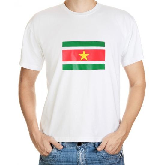 Suriname grote maten t shirt met vlag. wit unisex shirt met een opdruk van de surinaamse vlag. kwaliteit: 150 ...