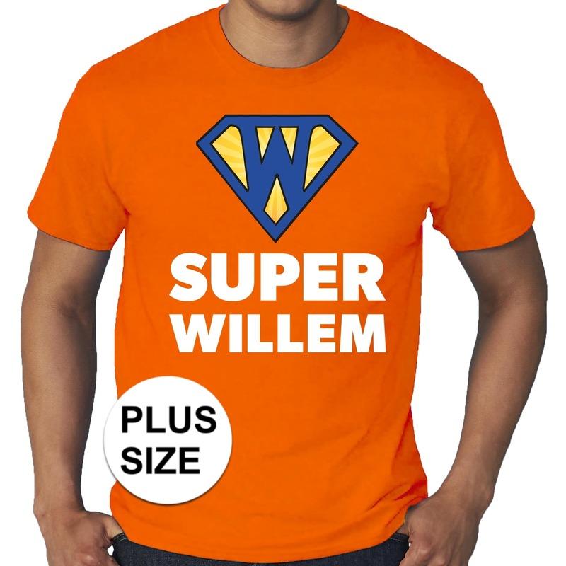 Oranje super willem holland shirt grote maten voor heren. een plus size shirt met super willem logo ...