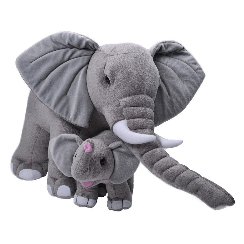 Grote pluche grijze olifant met kalfje knuffel 76 cm speelgoe