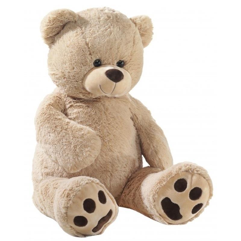 Grote pluche knuffelbeer beige 100 cm. grote knuffel van een beigee beer. formaat: ongeveer 100 cm.