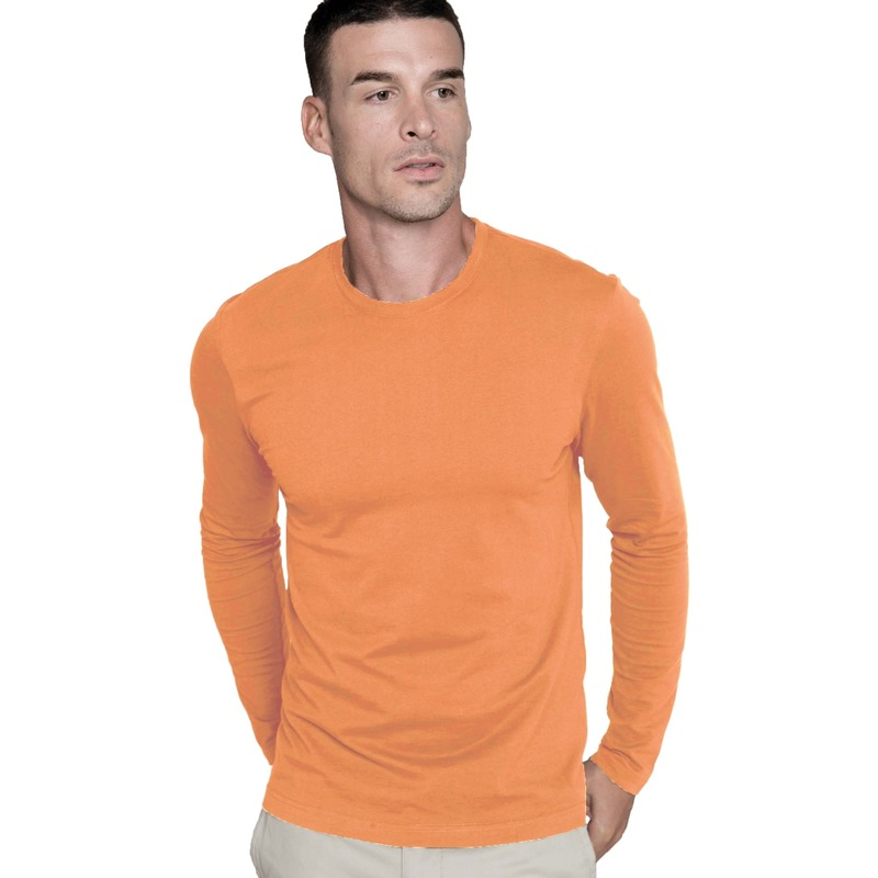 Grote maten oranje longsleeve shirt. kariban shirt in de kleur oranje met lange mouwen. het oranje t shirt is ...