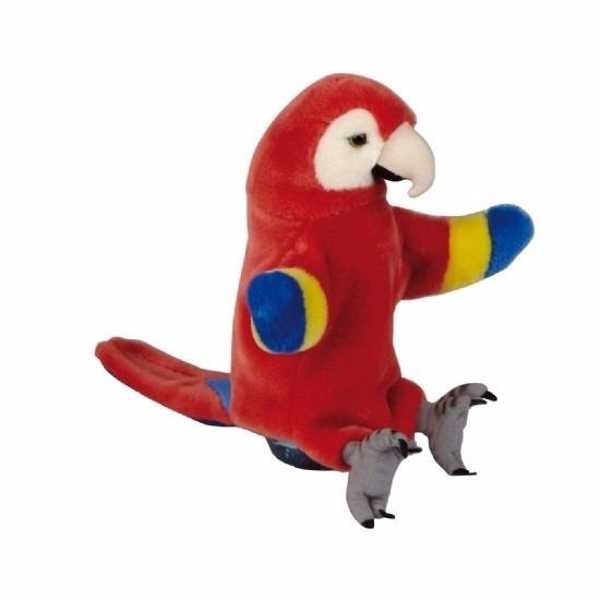 Handpop rode ara/papegaai pluche 25 cm