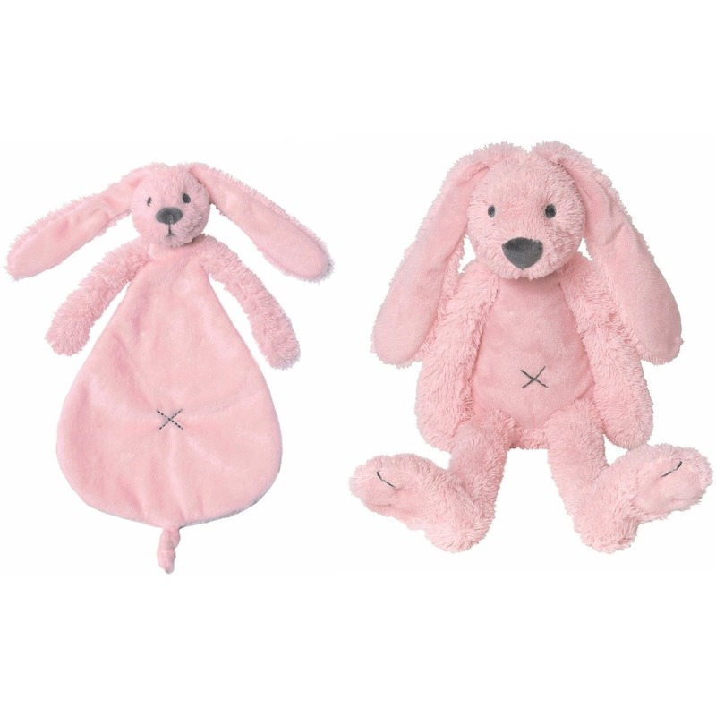 Happy Horse Richie konijn roze knuffeldoekje en knuffel