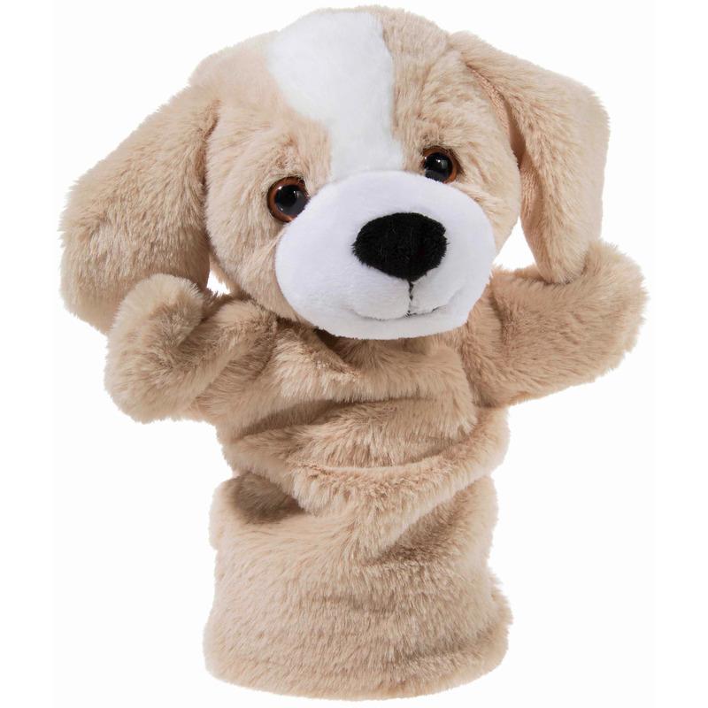 Hond speelgoed artikelen handpop knuffelbeest beige 25 cm