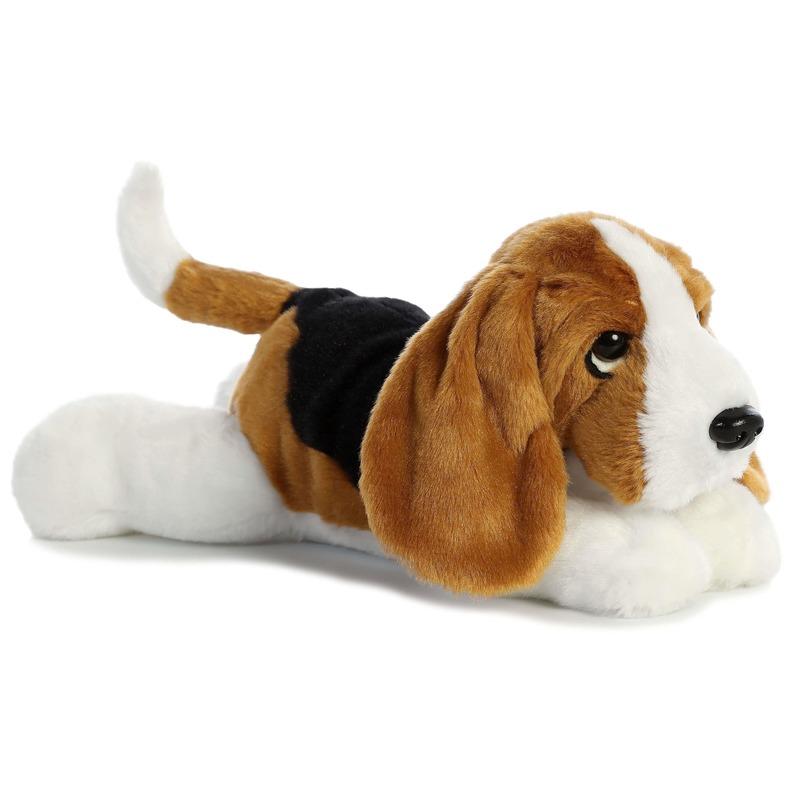 Honden speelgoed artikelen Basset hound hond knuffelbeest zwart/bruin/wit 30 cm