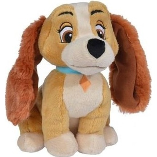 Honden speelgoed artikelen Disney Lady hond knuffelbeest bruin 24 cm