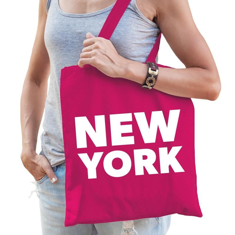 Katoenen Amerika/wereldstad tasje New York roze
