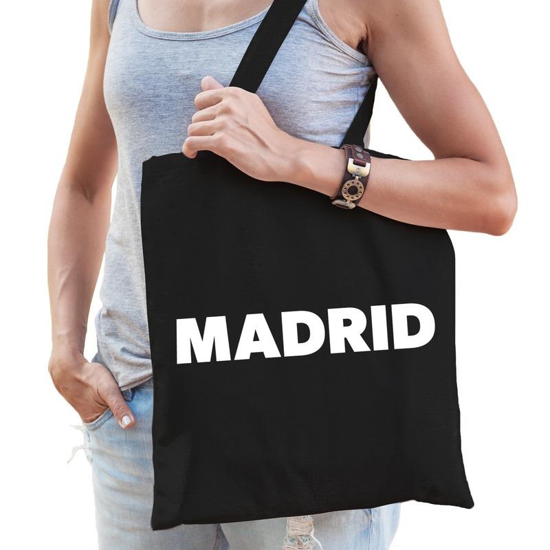 Katoenen Spanje/wereldstad tasje Madrid zwart