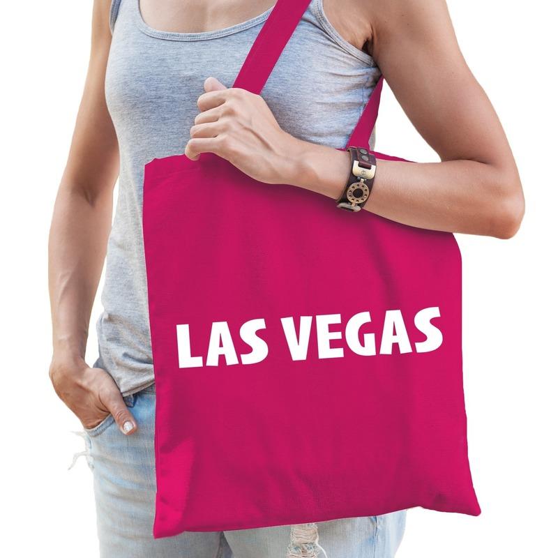 Katoenen USA/wereldstad tasje Las Vegas roze