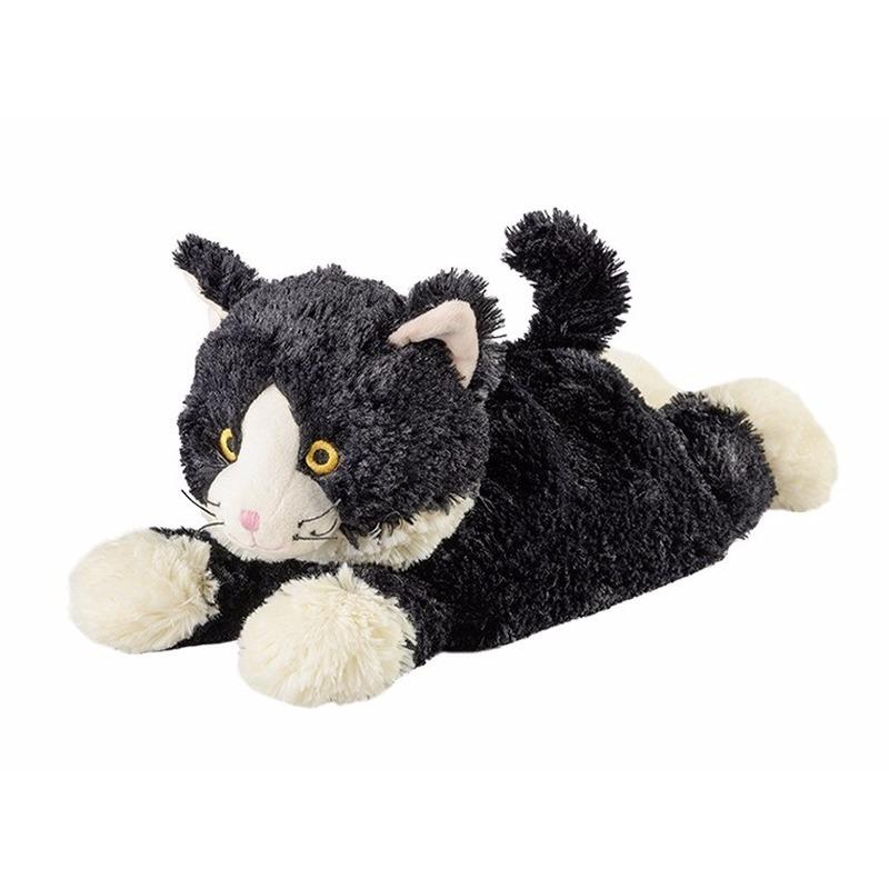 Katten speelgoed artikelen opwarmbare kat knuffelbeest zwart 38 cm