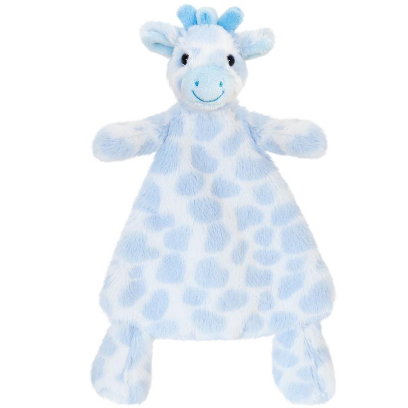 Keel Toys pluche tuttel blauwe giraffe knuffeldoekje 25 cm