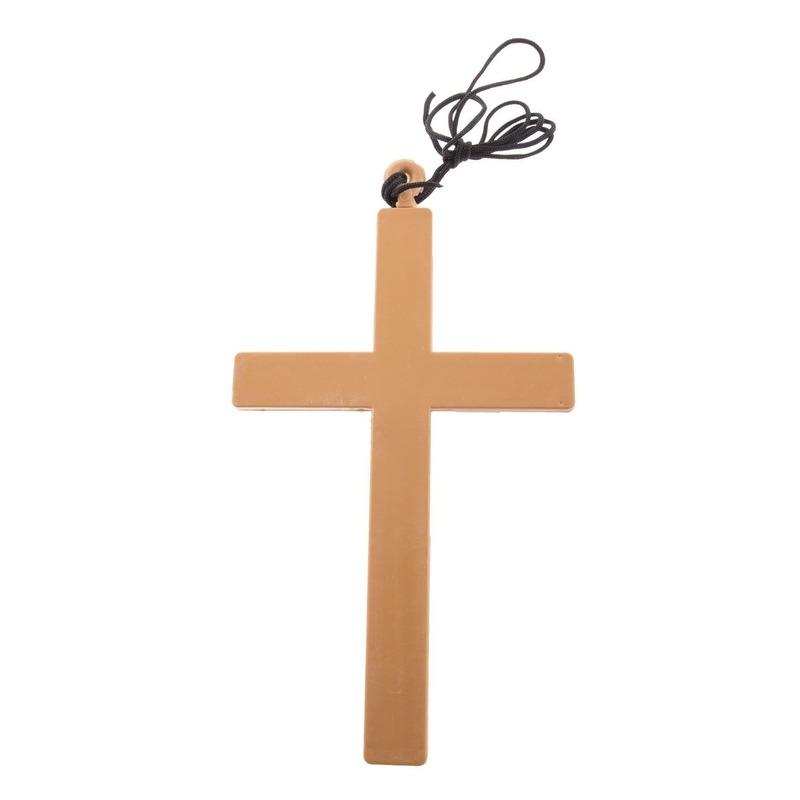 Ketting met groot kruis 23 cm. materiaal: plastic.