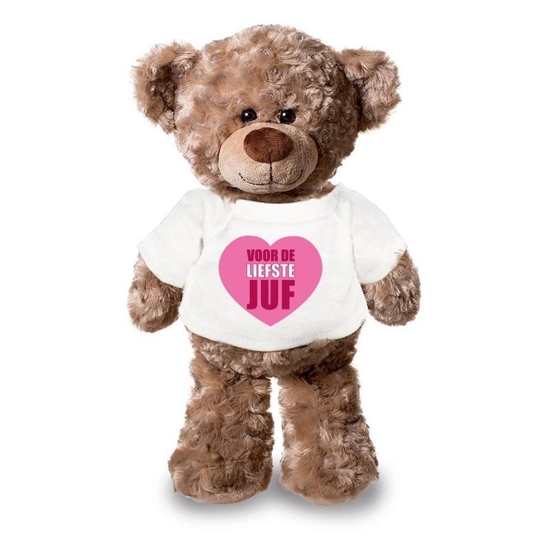 Knuffel teddybeer Liefste Juf wit shirt 24 cm