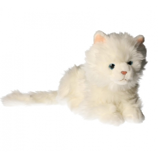 Knuffel witte poes van 27 cm