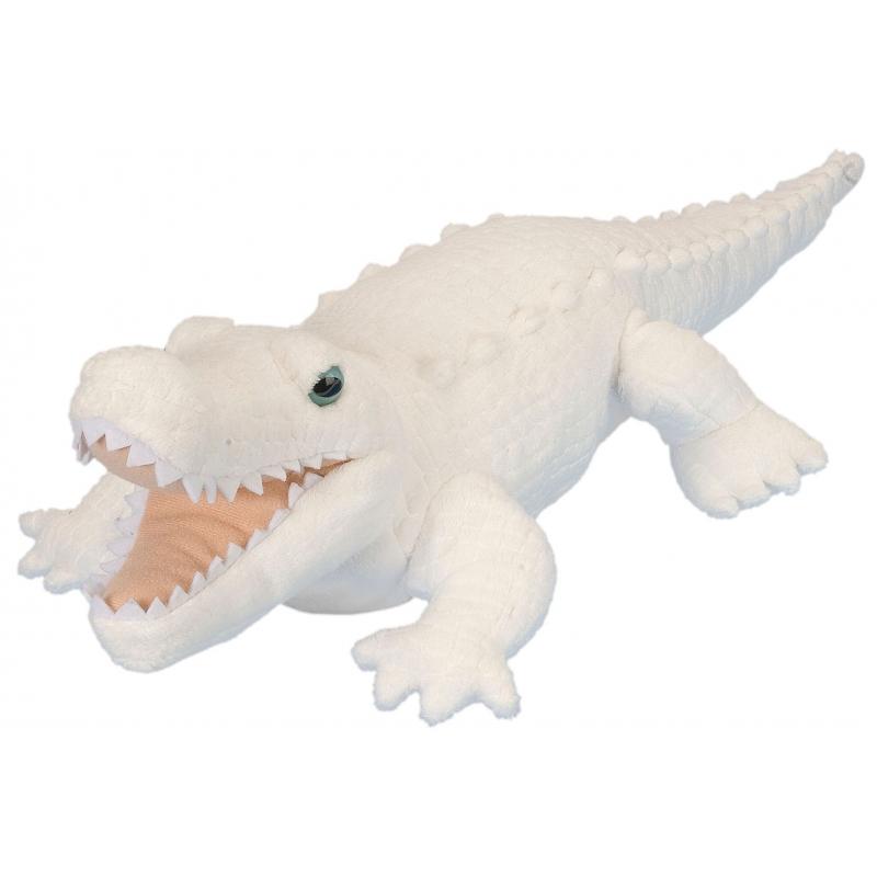 Knuffeldiertje krokodil pluche wit 38 cm