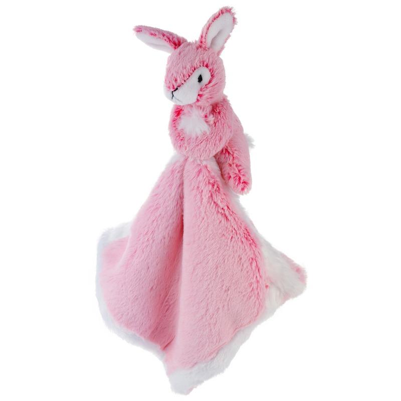Konijnen/hazen speelgoed artikelen wolf tuttel/knuffeldoek knuffelbeest roze 25 cm