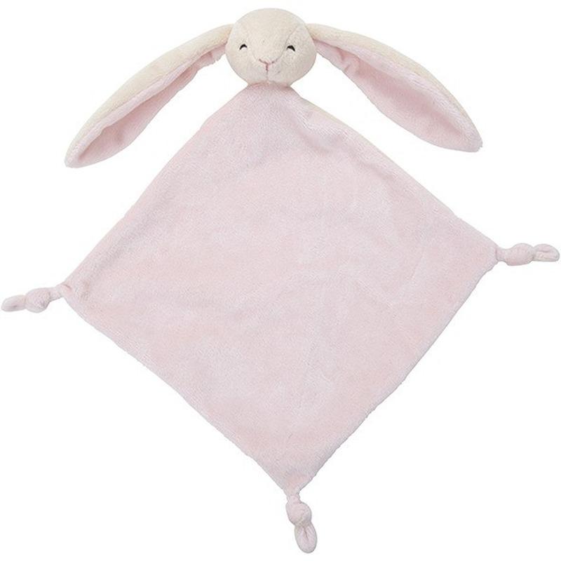 Konijnen speelgoed artikelen konijn tuttel/knuffeldoek knuffelbeest roze 40 cm