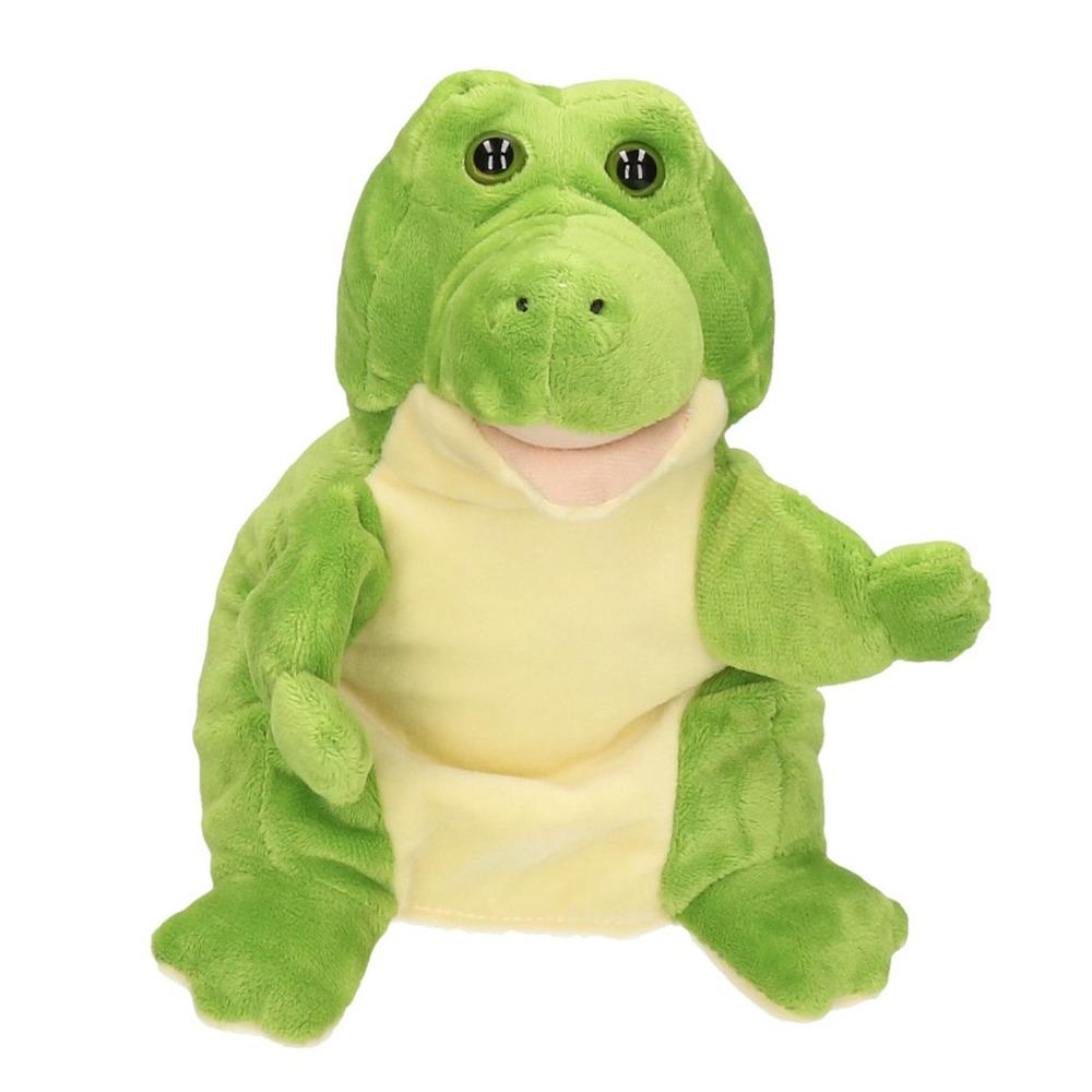 Krokodillen/alligators speelgoed artikelen krokodil handpop knuffelbeest groen 25 cm