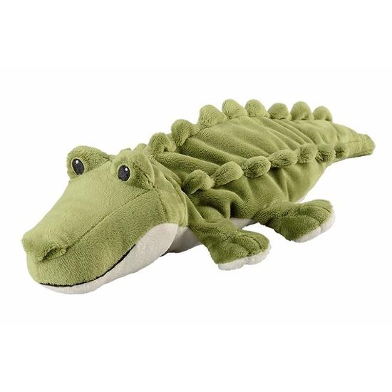 Krokodillen speelgoed artikelen opwarmbare krokodil knuffelbeest groen 35 cm