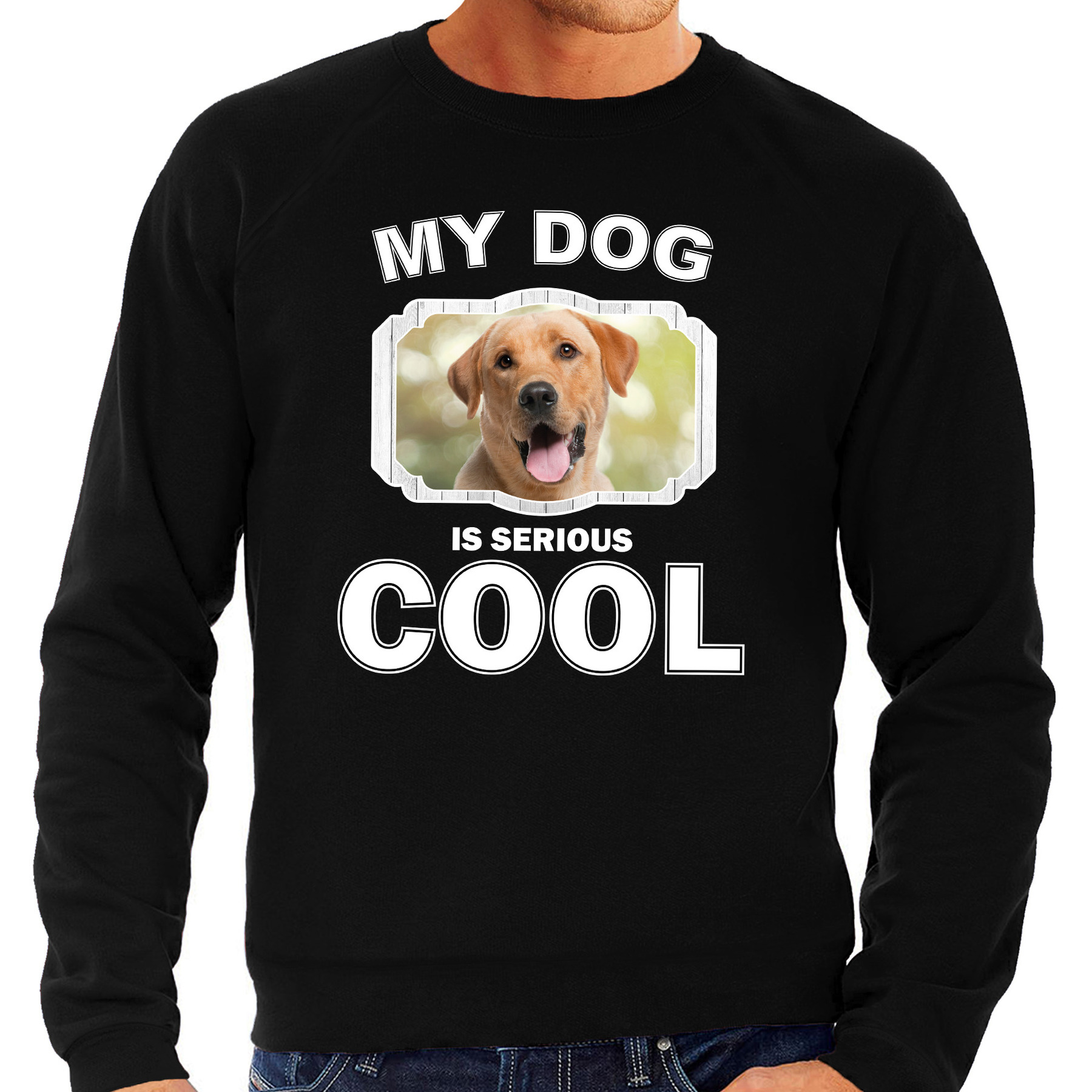 Labrador retriever honden sweater - trui my dog is serious cool zwart voor heren