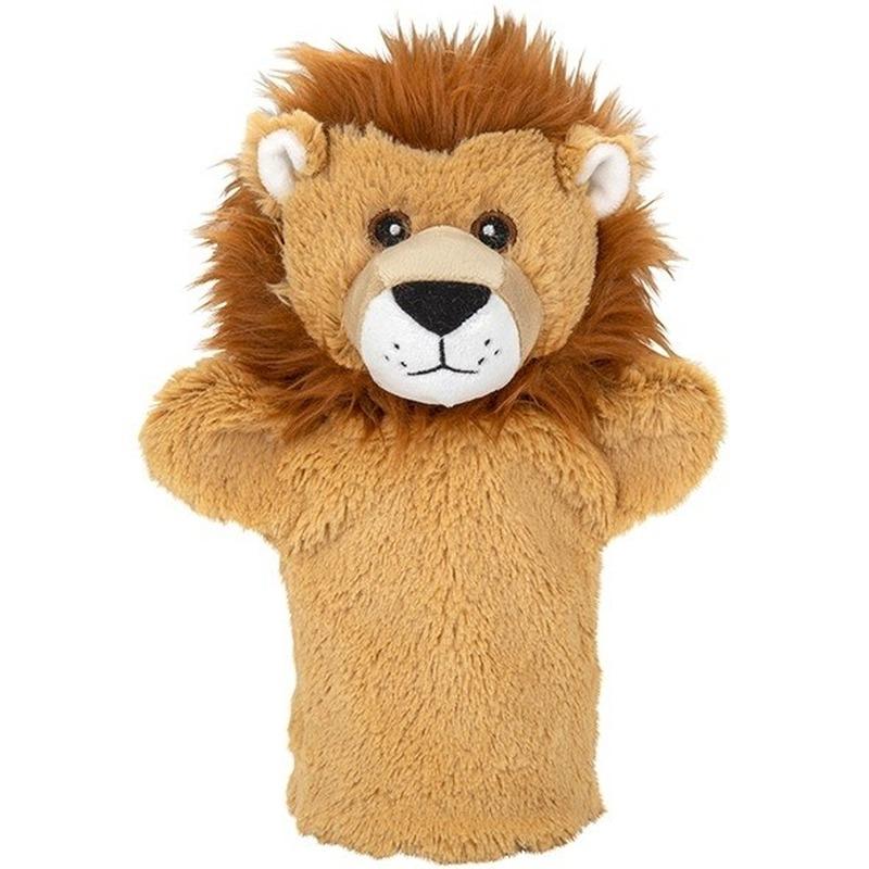 Leeuwen speelgoed artikelen leeuw handpop knuffelbeest bruin 24 cm