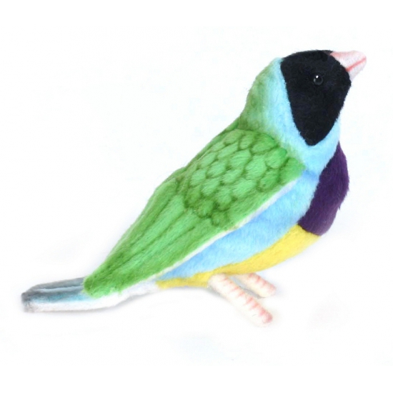 Levensechte Hansa pluche Gouldamadine vogel knuffel 11 cm