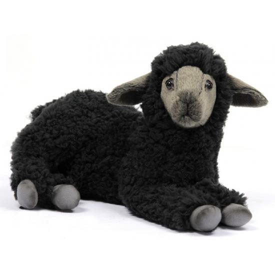 Levensechte Hansa pluche lammetje knuffel zwart 33 cm