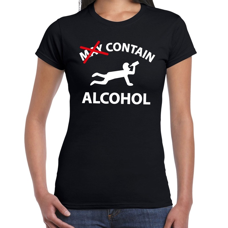 May contain alcohol drank fun t-shirt zwart voor dames