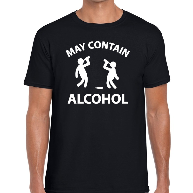 May contain alcohol fun t-shirt zwart voor heren