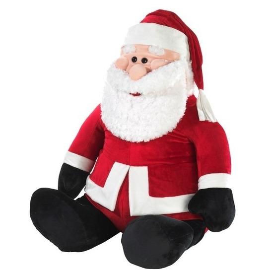 Mega kerstman zittend pluche knuffel 100 cm