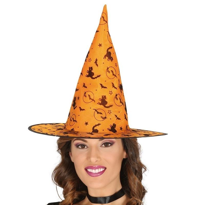 Oranje heksenhoed met print voor dames