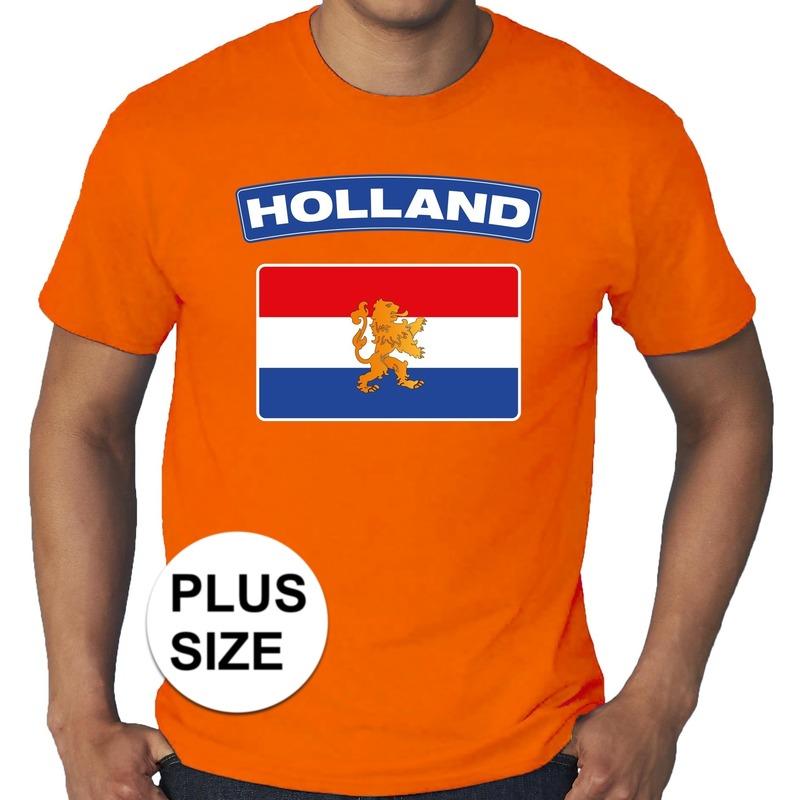 Oranje holland vlag shirt grote maten voor heren. op dit shirt staat een grote hollandse vlag. materiaal: 145 ...