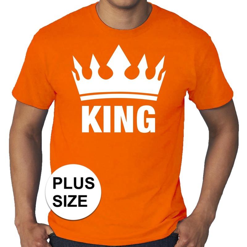 Oranje koningsdag king shirt grote maten voor heren. op dit shirt staat een kroon en de tekst king. ...