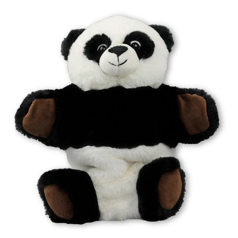 Pandas speelgoed artikelen panda handpop knuffelbeest zwart/wit 22 cm