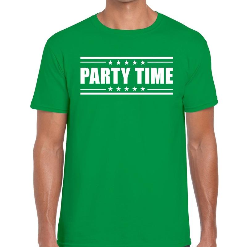 Party time t-shirt groen heren