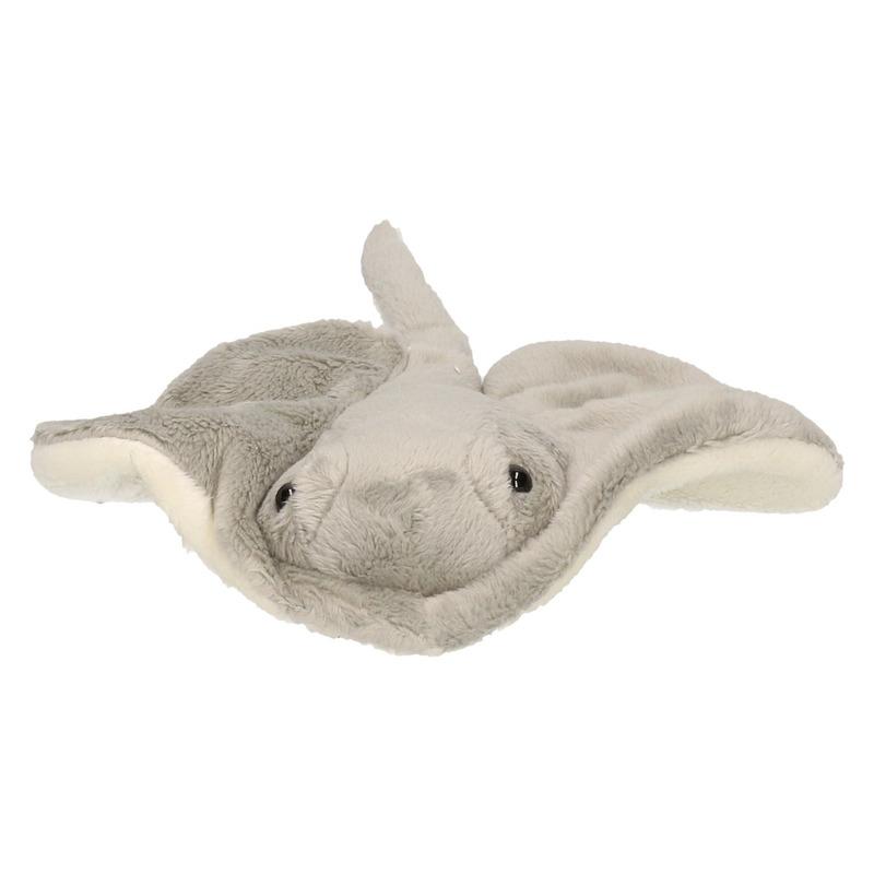 Pijlstaartroggen speelgoed artikelen mantarog knuffelbeest grijs 25 cm