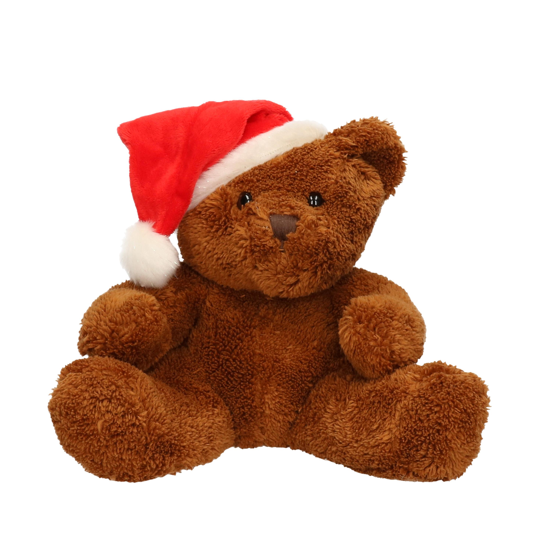 Pluche beer Michaela met kerstmuts 26 cm