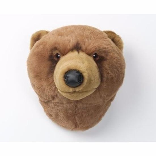 Pluche bruine beer dierenkop knuffel/trofee 30 cm muurdecoratie