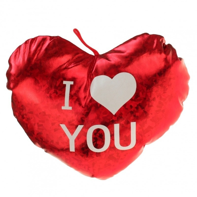 Pluche glimmend rood hart kussen I Love You 14 cm