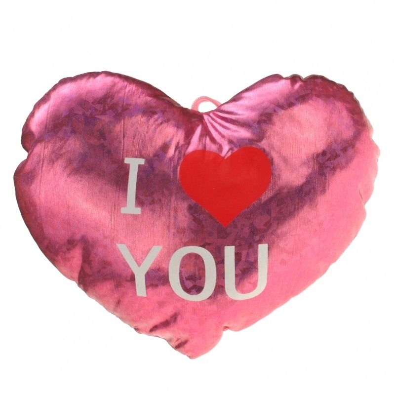Afbeelding: Pluche glimmend roze hart kussen I Love You 14 cm