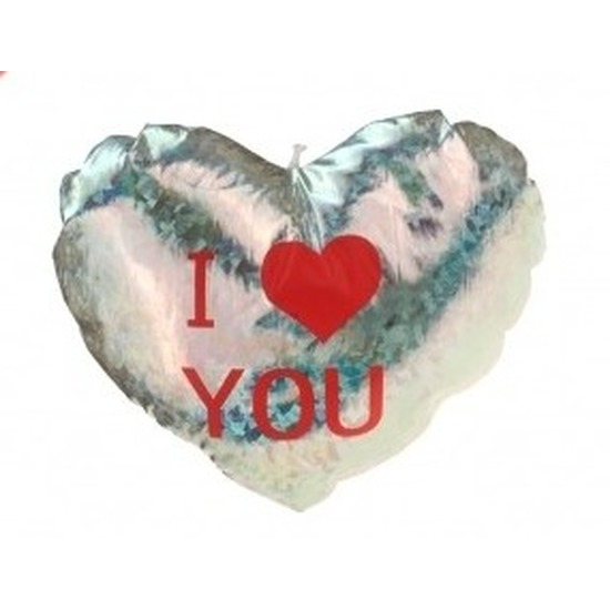 Afbeelding: Pluche glimmend zilver hart kussen I Love You 14 cm