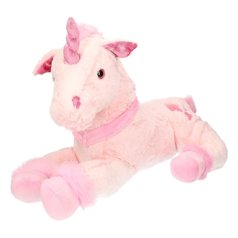 Pluche grote roze eenhoorn knuffel 62 cm. deze lichtroze knuffel is gemaakt super zachte pluche met glitter ...