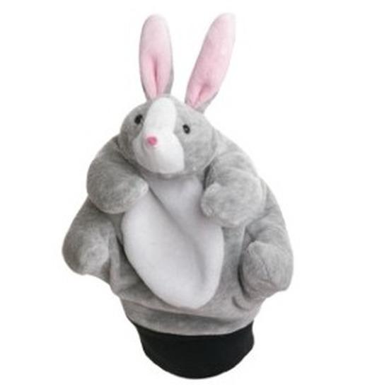 Pluche handpop konijn/haas 22 cm
