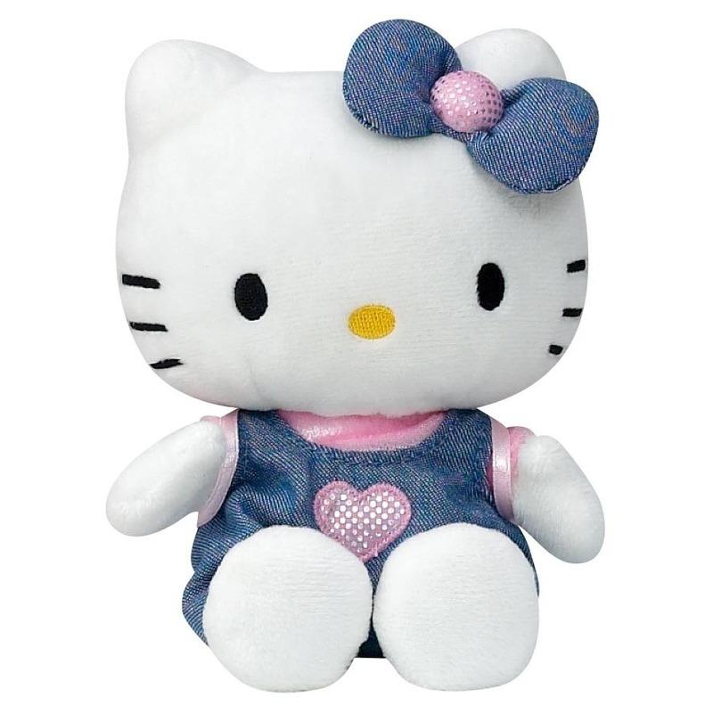 Afbeelding: Pluche Hello Kitty knuffel in blauw jurkje 15 cm
