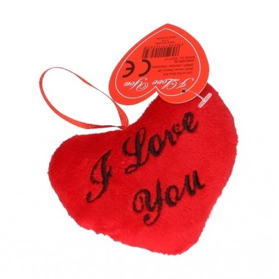 Pluche I Love You hartjes kussentje 10 cm