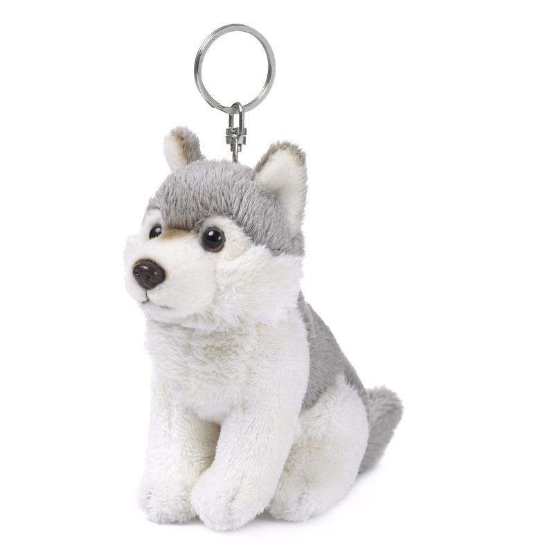 Pluche knuffel husky hondje sleutelhanger