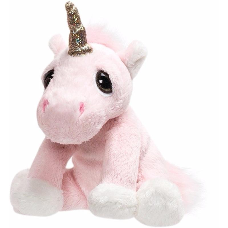 Pluche knuffel roze eenhoorn met glitter hoorn 16 cm